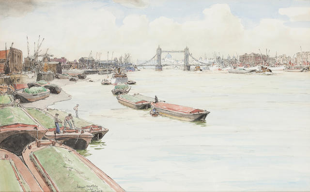 James McBey, LLD (British, 1883-1959) Barges on the Thames 32 x 51.5cm. (12 5/8 x 20 1/4in.)