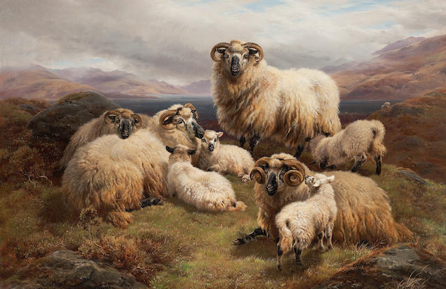 William Watson (British, died 1921) Sheep in a Highland landscape 60 x 90 cm. (23 5/8 x 35 7/16 in.)