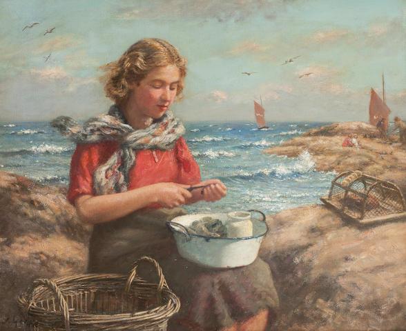 John McGhie (British, 1867-1952) Shelling Mussels