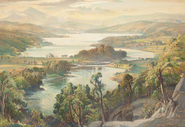 Samuel John Lamorna Birch, R.A., R.W.S., R.W.A. (British, 1869-1955) The Queen's View Loch Tummel 70 x 101 cm. (27 9/16 x 39 3/4 in.)