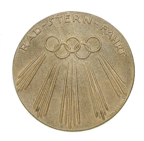 Commemorative Medal The medal of circular form, for participants in the Olympic Cycling Tour to Berlin by Otto Placzek, [1936]