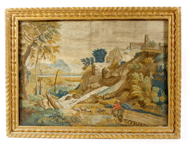 A pair of 18th century woolwork pictures