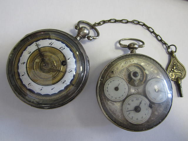 A lot of two silver key wind open face pocket watches