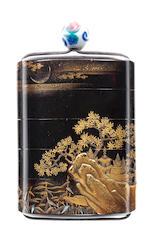 A black lacquer four-case inro 18th century