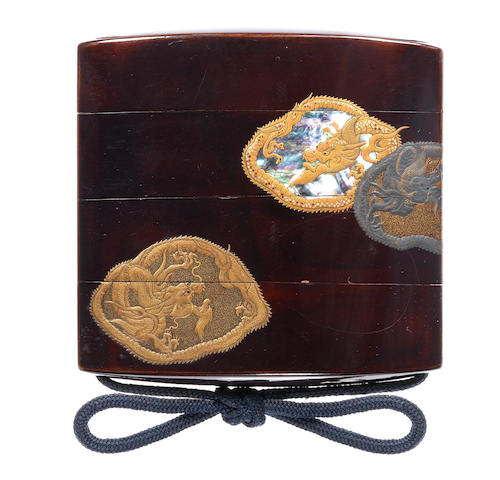 A black lacquer three-case inro Late 18th/early 19th century