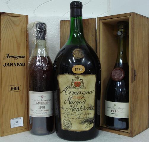 Marquis de Montdidier Vieille Réserve Armagnac 1933 (1 pot gascon)<BR />Janneau Grande Fine Armagnac 1950 (1)<BR />Janneau Grande Fine Armagnac 1961 (1)
