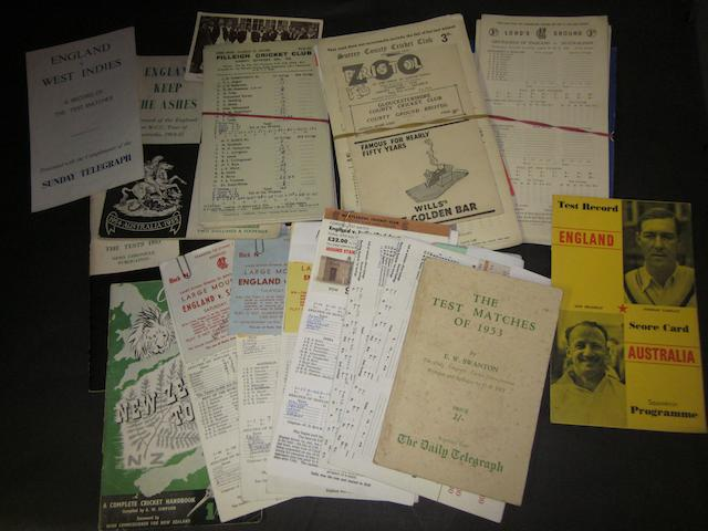 A collection of assorted 1940's onwards Cricket scorecards, tour booklets and tickets
