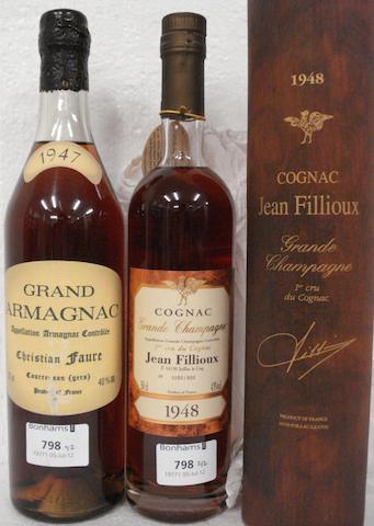 Grand Armagnac 1947 (1)<BR />Cognac Grande Champagne 1er Cru de Cognac 1948 (1 half-litre)