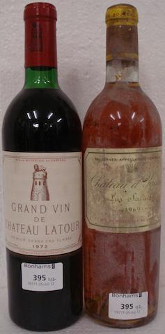 Chateau Latour 1972 (1)<BR />Chateau d'Yquem 1969 (1)