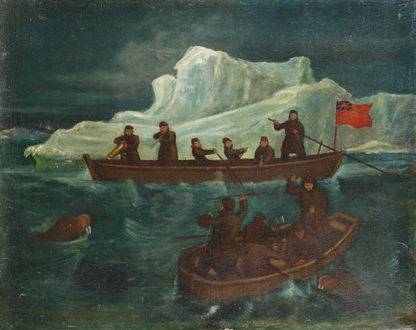 English School, 19th century The walrus hunt unframed