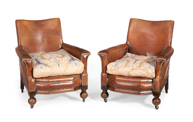 A pair of second quarter 20th century leather club armchairs