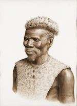 Gerard Bhengu (South African, 1910-1990) Portrait of a man