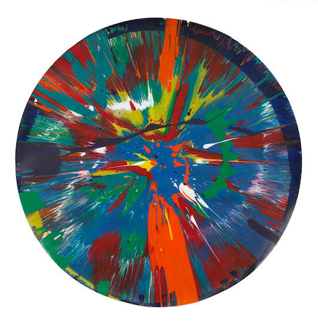 Damien Hirst (born 1965) Beautiful For Brian and Jean Painting 2008  signed and dated 2008 on the reverse household gloss on paper  Diameter: 60.5 cm. 23 13/16 in.