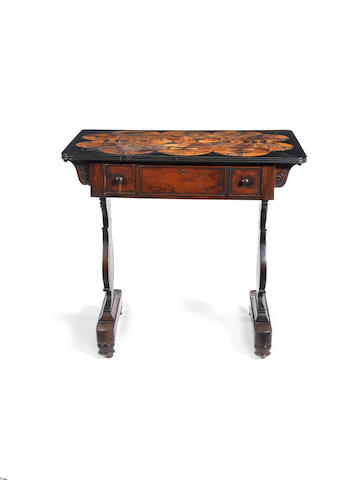 A 19th century Anglo-Indian rosewood, ebony and parquetry specimen wood centre table