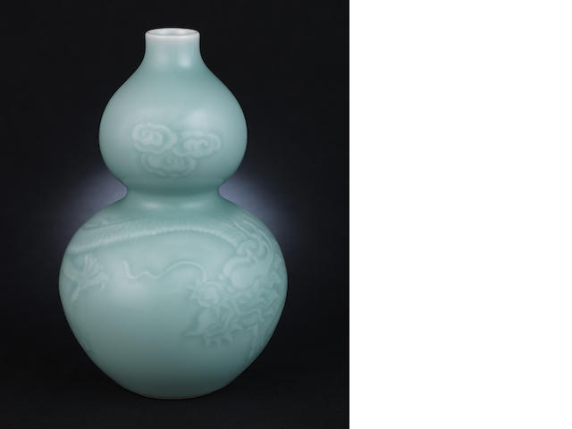 A celadon-glazed, double gourd vase  Yongzheng six-character seal mark