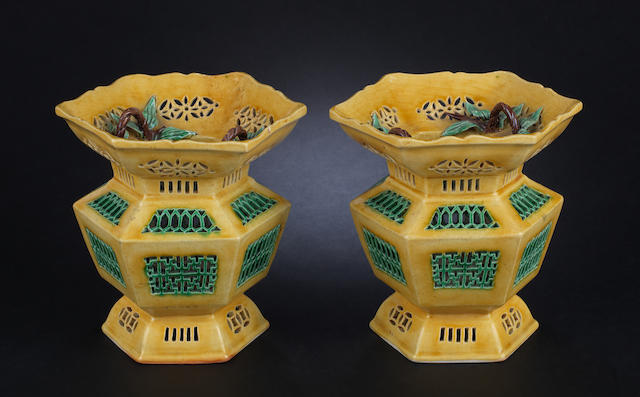 A pair of susancai-glazed lanterns