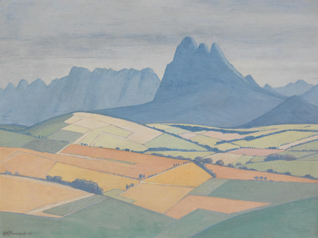 Jacob Hendrik Pierneef (South African, 1886-1957) A view in the Stellenbosch Valley, with Simonsberg and the Hottentots Holland beyond