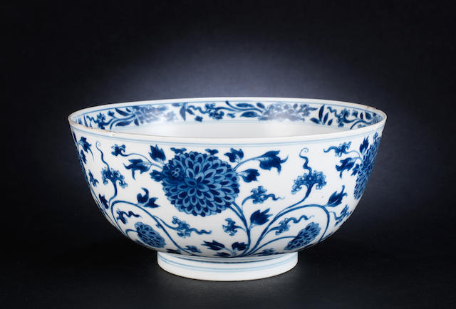A blue and white bowl Kangxi, Chenghua six-character mark