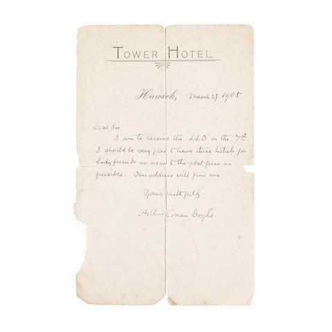 Arthur Conan Doyle letter