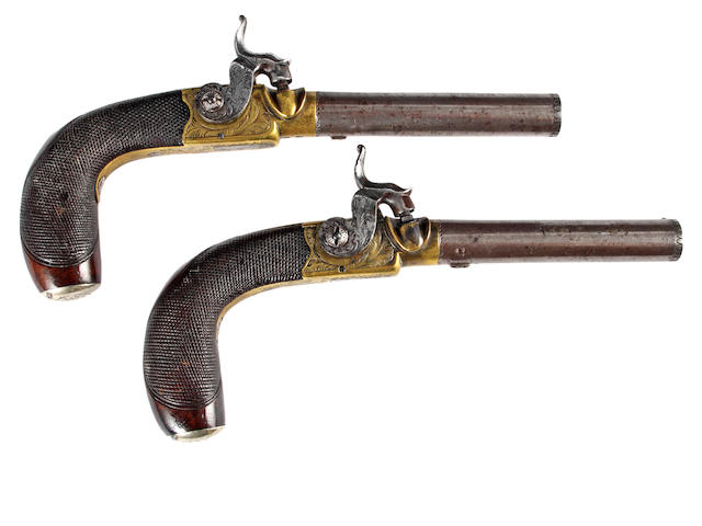 A Pair of Percusion Box Lock Side Lock Pocket Pistols