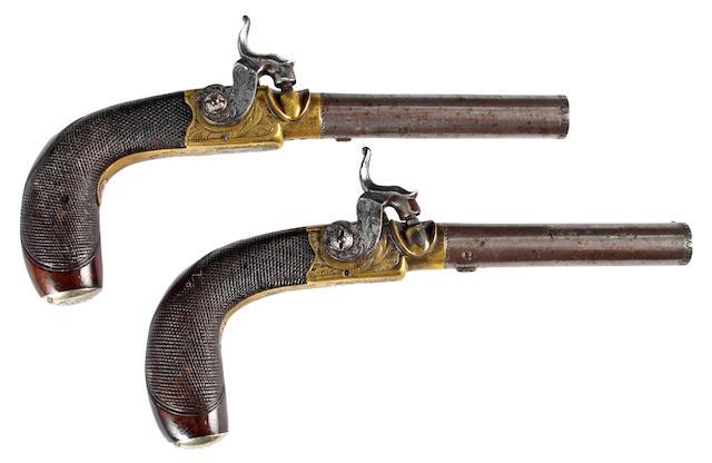 A Pair of Percusion Box Lock Side Lock Pocket Pistols