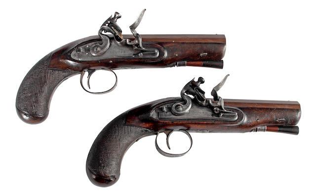 A Pair of Flintlock Travelling Pistols