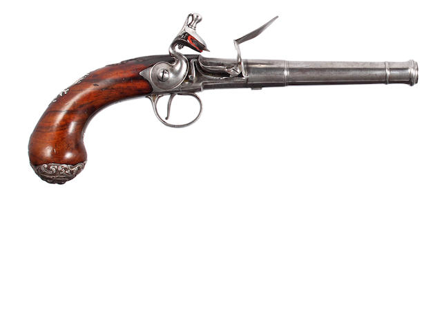 A Good Silver Mounted Flintlock Turn-Off Pistol