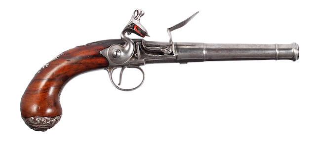 A Good Silver Mounted Flintlock Turn-Off Pistol