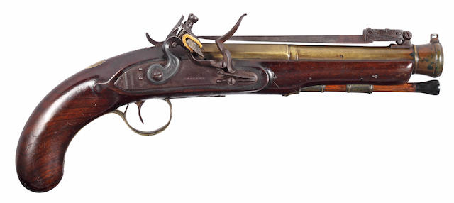 A Brass Barrelled Flintlock Blunderbuss Pistol