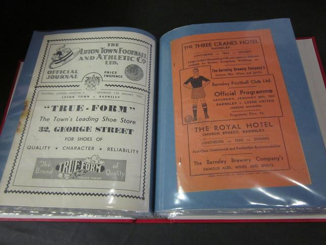 A complete collection of 1950/51 Barnsley home and away football programmes