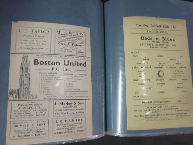 A collection of 1946 to 1965 Barnsley home and away friendly football programmes