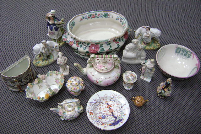Collective ceramics to include a Copeland and Garrett footbath, a Sunderland lustre large teapot and punch bowl, a erby soup plate, a Worcester soup plate, five Staffordshire figurines, a Royal Worcester figure and small teapot and some late Coalbrookdale flower encrusted ware(parcel)