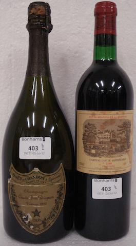Dom Pérignon 1992 (1)<BR />Chateau Lafite Rothschild 1980 (1)