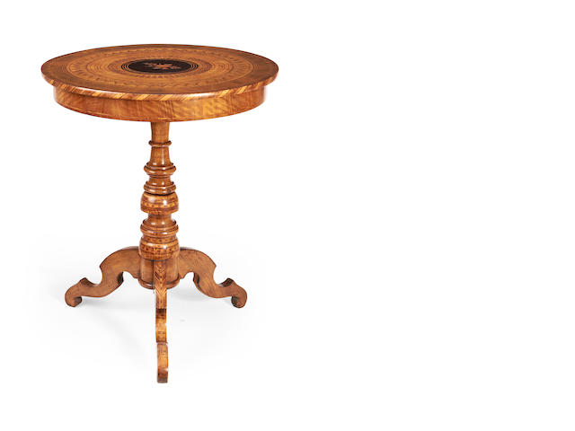 An Italian mid 19th century walnut, ebony and fruitwood marquetry and parquetry occasional table