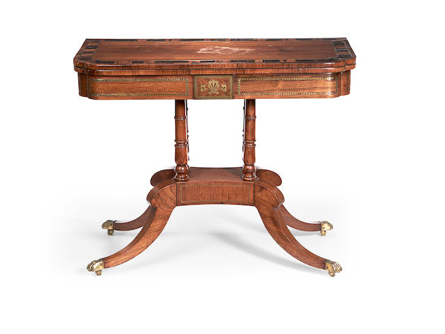 A Regency rosewood, calamander crossbanded and brass inlaid card table