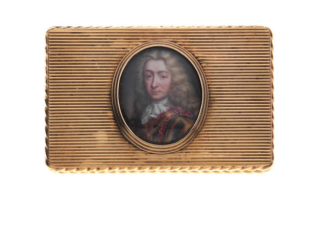 A 19th century gold snuff box with earlier enamel on copper portrait miniature  by Charles Boit, Swedish (1663-1727)