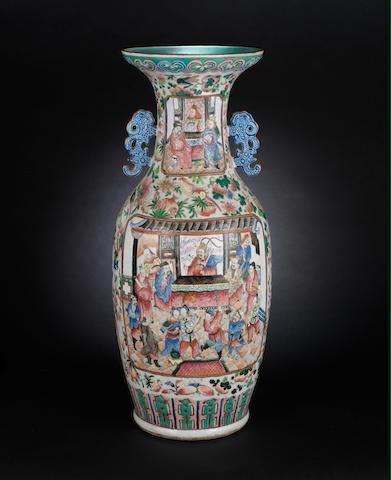 A Canton famille rose, baluster vase