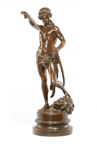 Louis Gossin, French (1846-1928) A bronze figure of David with the head of Goliath David Vainqueur