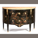 A French late 19th/early 20th century black and gilt japanned demi-lune commode in the Louis XVI style