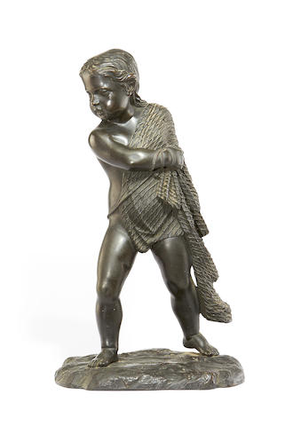 A late 19th century bronze figure of a fisher boyprobably Italian