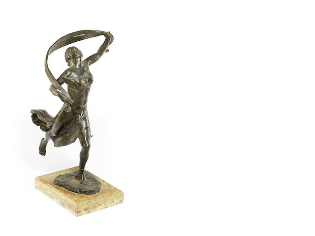 An early 20th century bronze figure of a dancing maiden