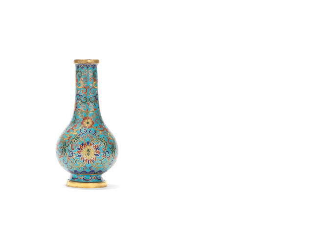 A rare cloisonné enamel pear-shaped vase Incised Qianlong five-character mark and of the period
