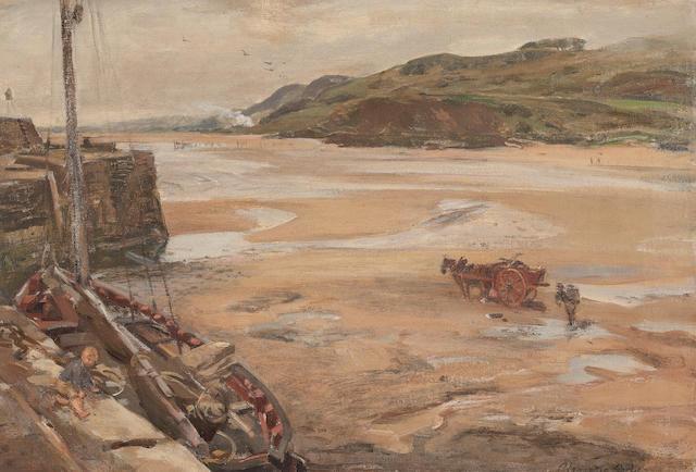 Alexander Ignatius Roche, RSA (British, 1861-1921) Pettycur harbour, Fife 40 x 60 cm. (15 3/4 x 23 5/8 in.)