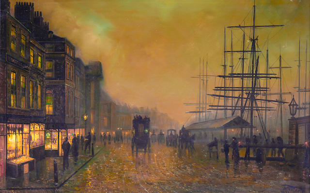 Walter Linsley Meegan (British, 1859-1944) Dock scene at dusk