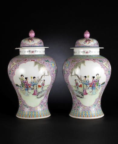 A pair of famille rose baluster jars and covers  Qianlong blue-enamelled four character marks