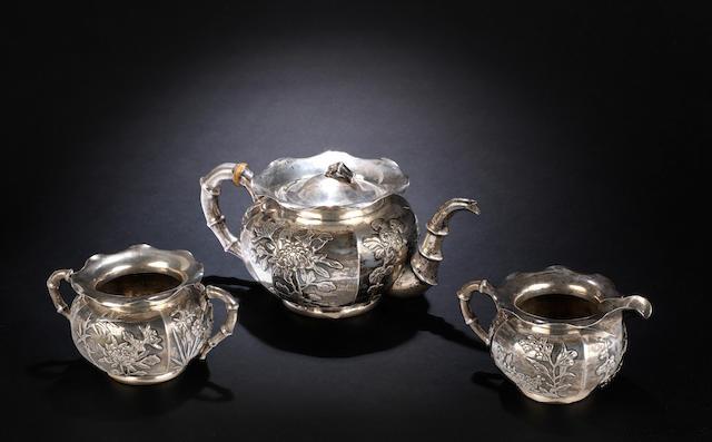 Three white metal wares  Ming Quan marks