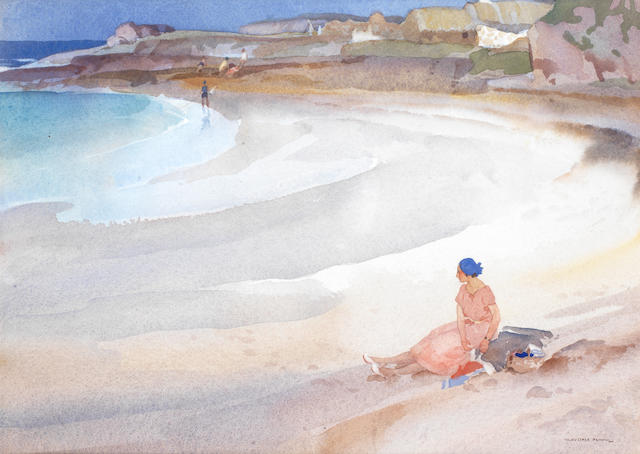 Sir William Russell Flint R.A., P.R.W.S. (British, 1880-1969) A Quiet Beach at Reiff, Ross-Shire 24 x 33 cm. (9 1/2 x 13 in.)
