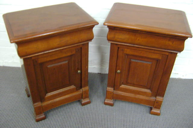 A pair of French style bedside cupboards, 48cm wide