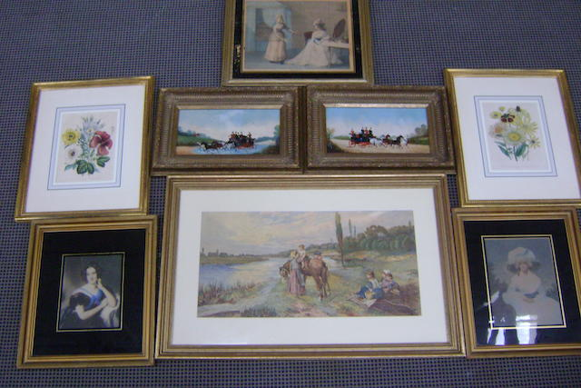 After Rickard?, pair coaching scenes, 17cm x 34cm together with a chromolithograph, family group by a river, and five decorative prints (8)