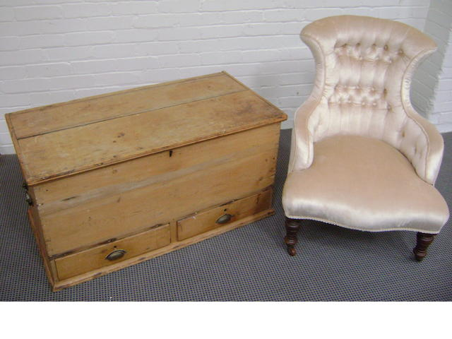 An antique pine blanket chest with two drawers to the base, 107cm wide together with a Victorian nursing chair, with silver/fawn velvet cover (2)